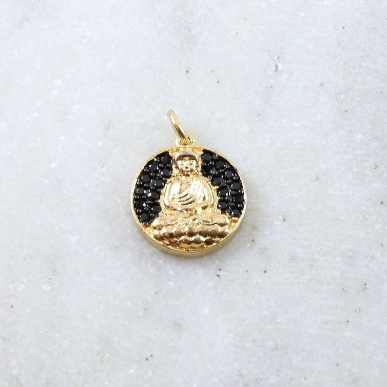 Unique Coin Black CZ Pave Buddha Ohm Gold Plated Gold Coin image 0