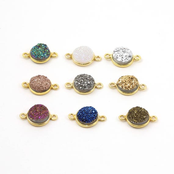 Shiny Druzy Connector Bezel 10mm 2 loop Link Charm in Sterling Silver or Vermeil / Choose your Color