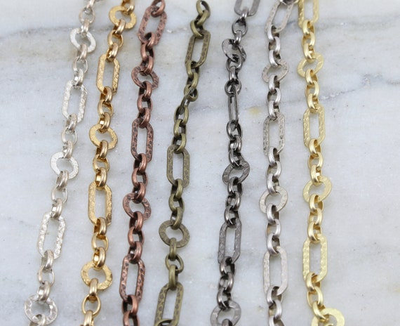 Base Metal Hammered Rectangle Circle Chain in Shiny Silver and Gold, Antique Copper, Brass, Antique Silver, Gunmetal, Matte Gold/by the Foot