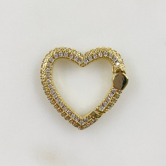 Heart Shaped CZ Covered Push Gate Clasp Gold Plated Unique Clasp
