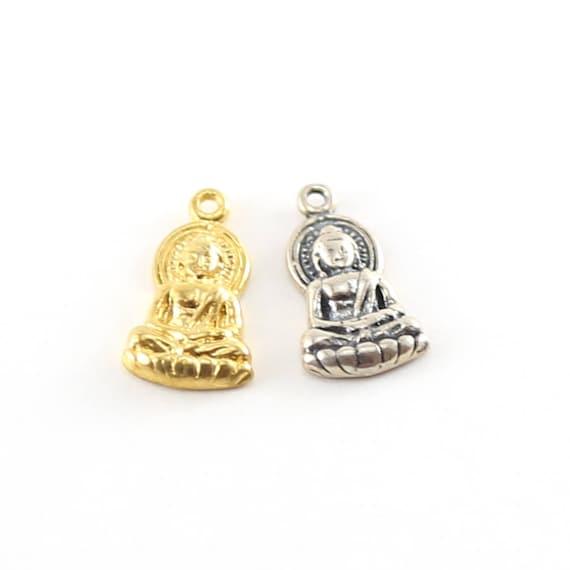Buddha Sitting Yoga Charm Ohm Meditation Mantra Pendant in Vermeil or Sterling Silver