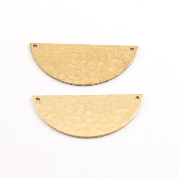 2 Pieces Large Lightweight Raw Brass Metal Stamping Blank Half Circle Connector Charm Pendant