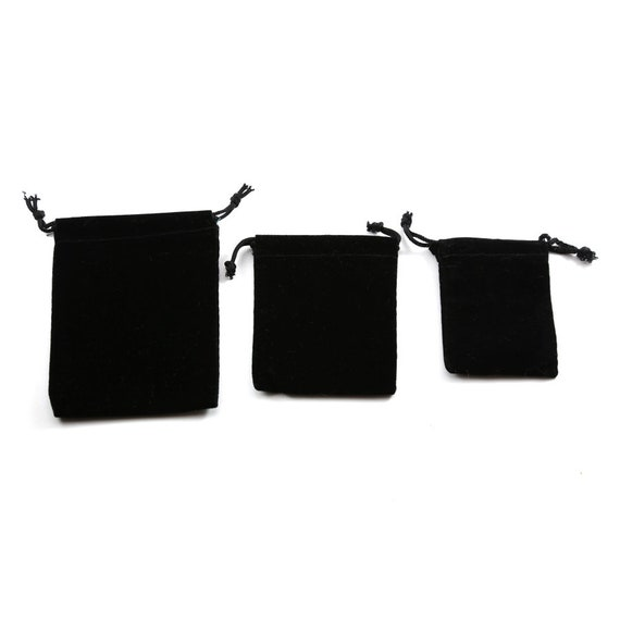 5 Pieces Black Velveteen Drawstring Bag Pouch Wedding Favors, Jewelry Packaging, Coin Storage, Small Gift Bag / Choose your Size