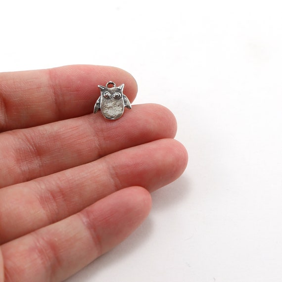 Cute Tiny Sterling Silver Owl Charm Nature Bird Pendant