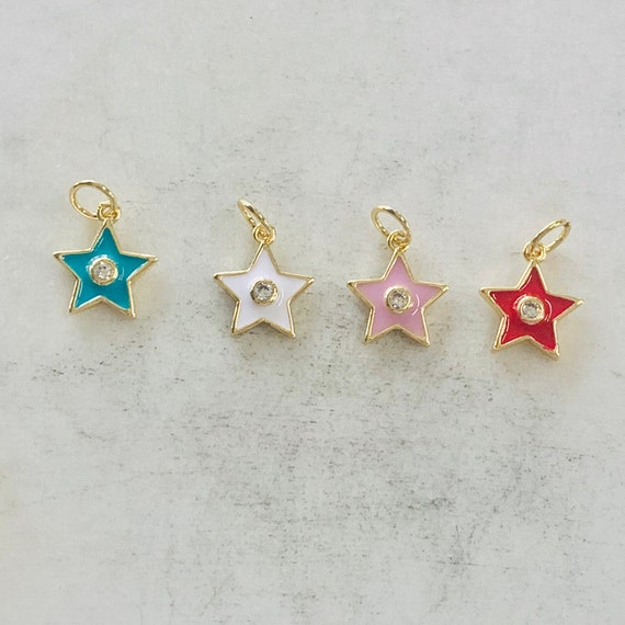 Cute Dainty Gold Plated Celestial Star Charm with CZ Turquoise, White, Pink, and Red  Unique Enamel Charm Pendant