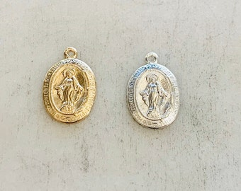 14K Gold Filled or Sterling Silver Small Mother Virgin Mary Oval Pendant Religious Charm Pendant