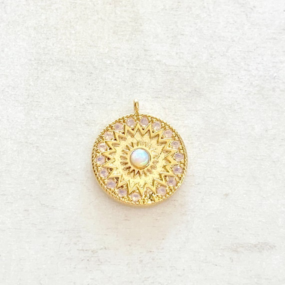 Celestial Star Opal Coin Vintage Charm Gold Plated CZ Drop Charm Opal Pendant Cubic Zirconia Star Opal Jewelry