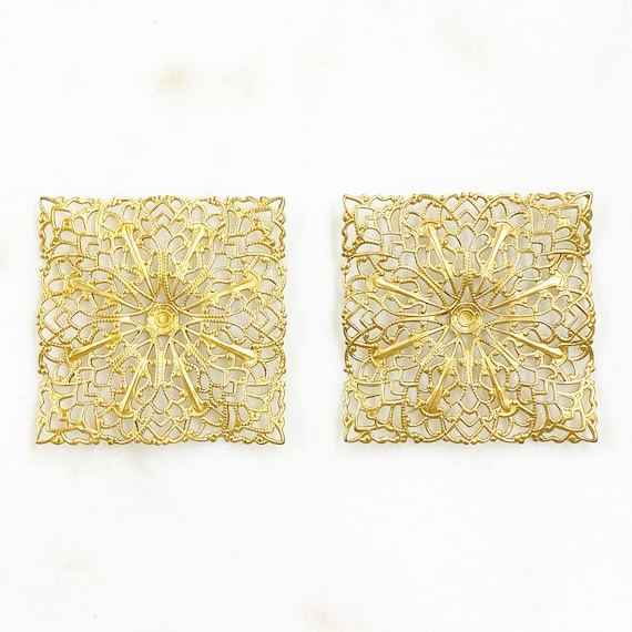 2 Piece Filigree Raw Brass Square Shaped Raised Edges Unique Jewelry Making Supplies