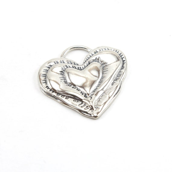 Large Sterling Silver Organic Shaped Detailed Valentine's Day Heart Charm Love Friendship Pendant