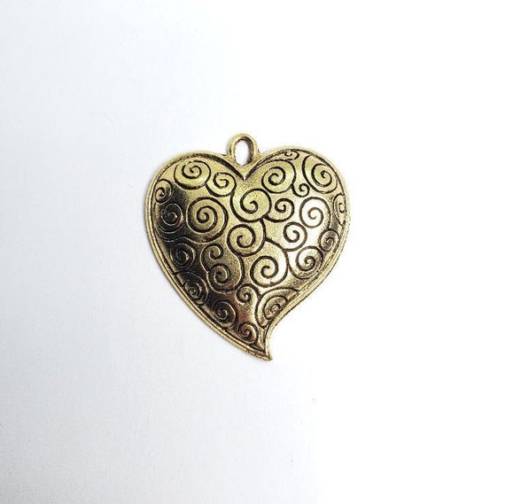 Large Heart Pewter Metal Pendant  With Curly Cue Swirl Design Domed Back 37mm x 33mm Antique Gold