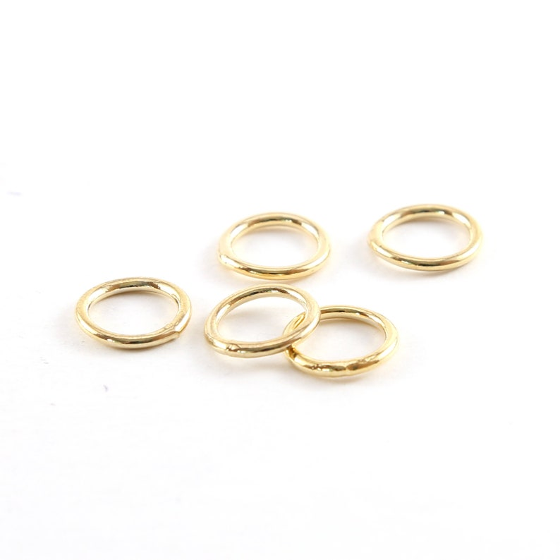 5 Pieces Small 11mm Shiny Gold Smooth Open Circle Connector image 0