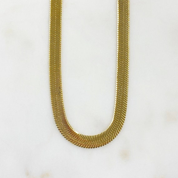 Ready to Wear 18k Gold Filled  Thick Herringbone Chain Necklace 7mm in 16 or 18 Inch