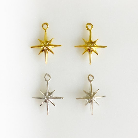 2 Pieces Small Tiny 8 Point Star Charm Dainty Vermeil or Sterling Silver Double Sided Charm Celestial Unique Charm