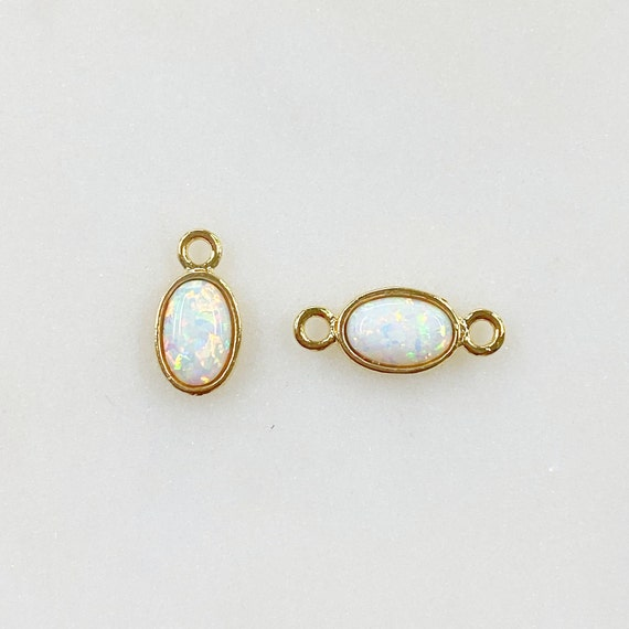 16k Gold Plated Opal Pendant Charm Choose Your Style Single Loop or Connector Charm Unique Opal Charm