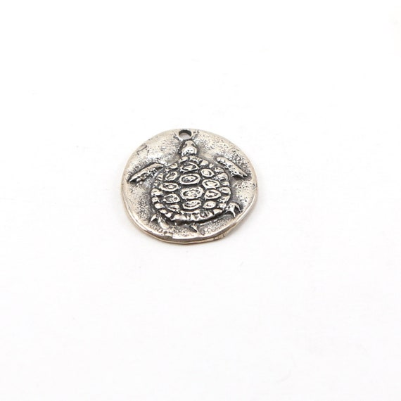 Raised Unique Turtle Coin Medallion Pendant in Sterling Silver Nature Pendant Double Sided Coin