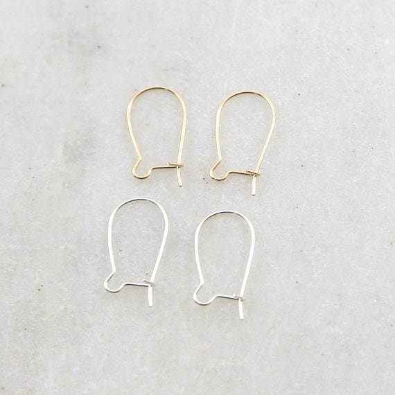 1 Pair Kidney Ear Wire Lightweight Thin Gauge Wire Earring Wires Earring Hook Component in Sterling Silver or 14K Gold Filled