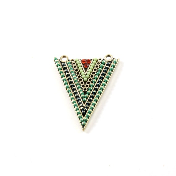 Large Base Metal Colorful Crystal Beaded Triangle Tribal Bohemian Connector Pendant Charm
