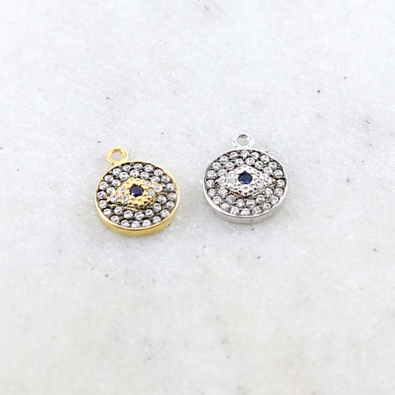 Round Pave CZ Evil Eye Protector Pendant in Sterling Silver or Vermeil Gold Necklace Bracelet Charm Religious Pendant