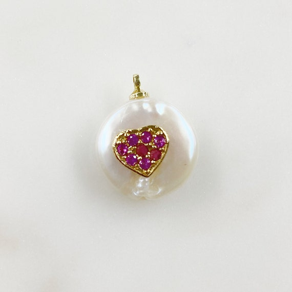 Freshwater Cubic Zirconia Heart Shaped Ruby Center Pearl Charm Gold Plated Natural Shape Pearl Charm