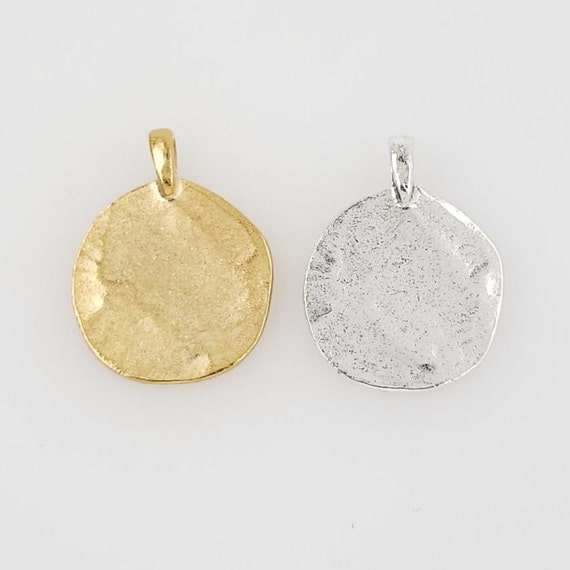 Large Pewter Base Metal Flat Stamping Blank Circle Coin Charm with Bail Pendant Gold, Silver, Pendant