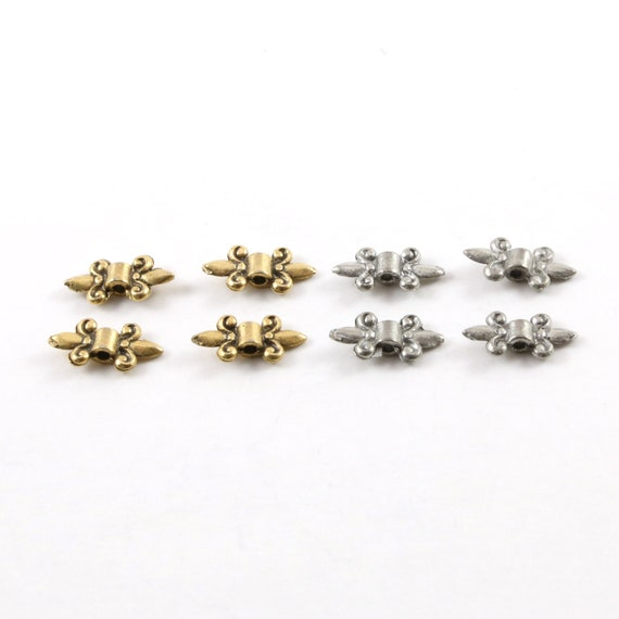 4 Pieces Pewter Fleur De Lis Spacer Bead Fancy Accent Charm in Antique Gold or Antique Silver