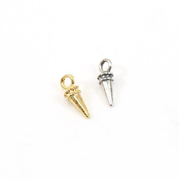 Tiny Small Spike Point Dagger with Beaded Top for Earrings or Necklaces Sterling Silver or Vermeil Gold
