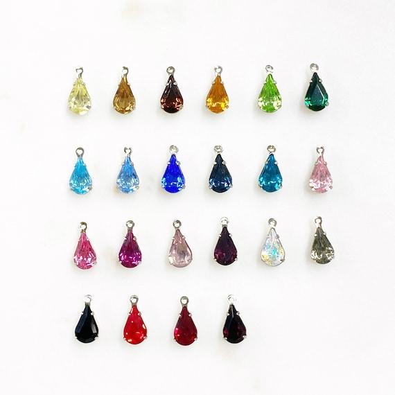 5 Piece Swarovski Crystal Tear Drop Rhinestone Authentic Swarovski Crystal Choose Your Color Base Metal Jewelry Making Beads