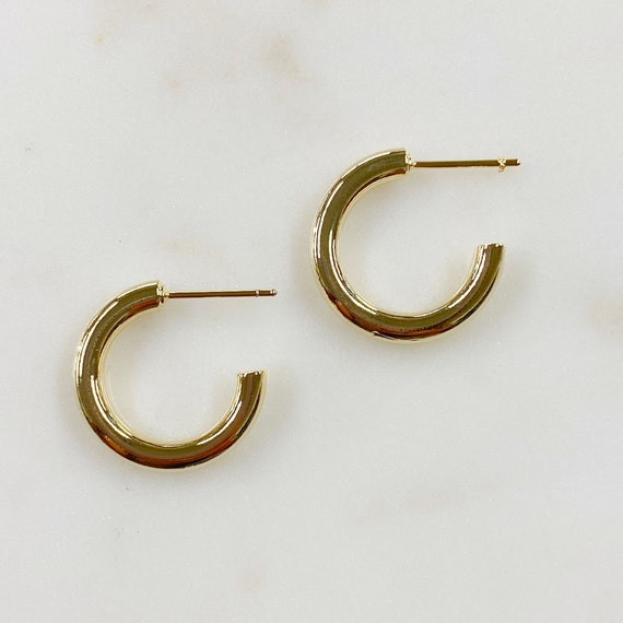 Half Hoop Gold Plated Hoop Earrings C Shaped Medium Sized Hoops