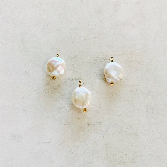 1 Piece Gold Plated Freshwater Pearl Charm, Baroque Pearl Charm, Pearl Charm Pendant