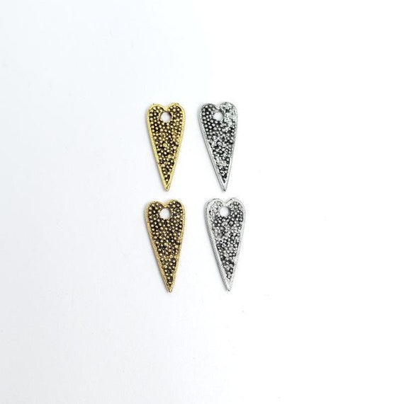 2 Pieces Pewter Long Dotted All Over Heart Pendant Double Sided in Antique Gold and Antique Silver