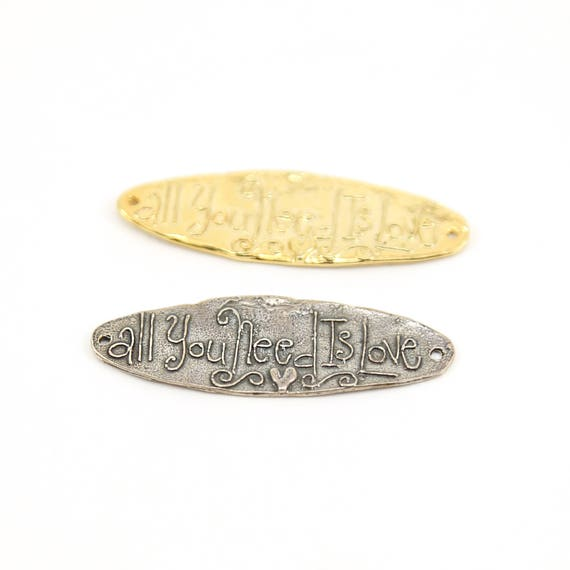 All You Need is Love Long Oval Bar Inspirational Sayings Connector Link Charm Sterling Silver or Vermeil Gold