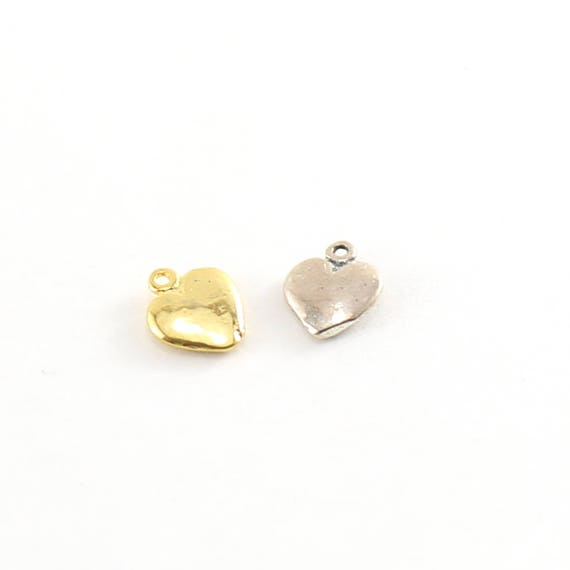 Mini Flat Heart Charm in Sterling Silver or Vermeil Gold Dainty Heart Love Pendant