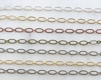 Base Metal Small Oval Textured Crimped Chain in 7 Finishes / Chain by the Foot