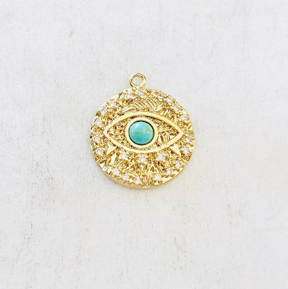 Evil Eye Coin Turquoise Gold Round 20mm Turquoise Stone Evil Eye Gold Plated CZ Drop Charm Cubic Zirconia Protector Charm