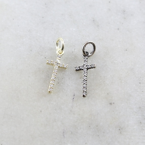Long Sterling Silver or Vermeil CZ Cross Religious Charm Pendant Skinny Cross Charm 16mm x 7mm