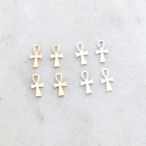 4 Pieces Dainty Egyptian Ankh Life Charm in Sterling Silver and 14K Gold Filled