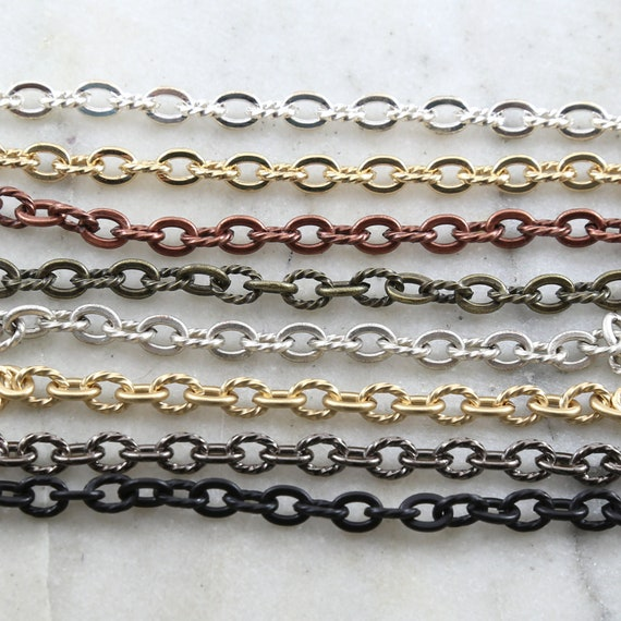 Base Metal Sturdy 7mm x 5mm Openable Textured Oval Extender Chain in 7 Finishes / Chain by the Foot