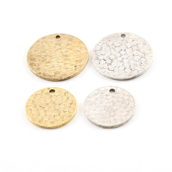 2 Size Options Pewter Metal Textured Hammered Round Circle Stamping Disc Charm in Antique gold or Antique Silver  24mm or 19mm