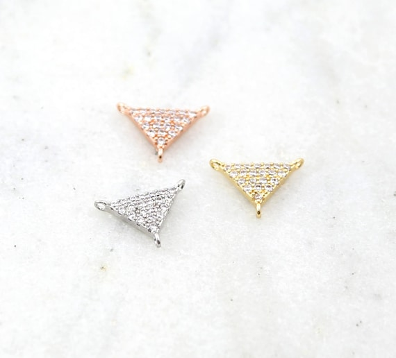 CZ Pave Rhodium Plated 3 Way Y Triangle Connector in Silver, Rose Gold, Gold Small Modern Jewelry Making Supplies