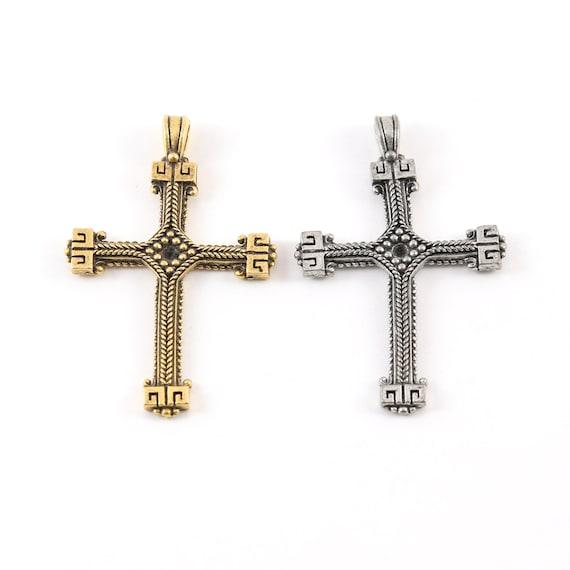 Pewter Base Metal Ornate Lined Cross Charm Pendant Religious Spiritual Catholic Christianity Necklace Charm