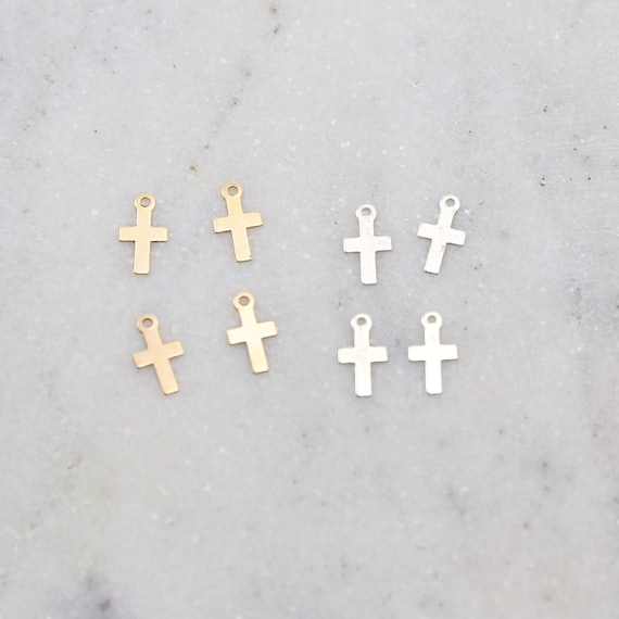 4 Pieces Dainty Tiny Cross Charms in Sterling Silver and 14K Gold Filled Delicate Lightweight Charms