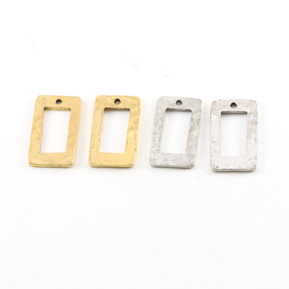 2 Pieces Pewter Metal Textured 23mm x 11mm Rectangle Shaped Open Stamping Blank Charm Pendant Antique Gold, Antique Silver