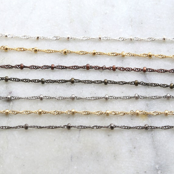 Base Metal Plated 2.5mm Filigree Satellite Ball Dotted Chain in 7 Finishes / Chain by the Foot
