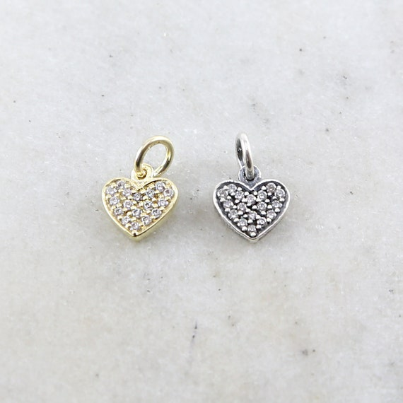 Heart Cubic Zirconia Pave Charm in Sterling Silver or Vermeil Love Pendant 9mm x 9mm
