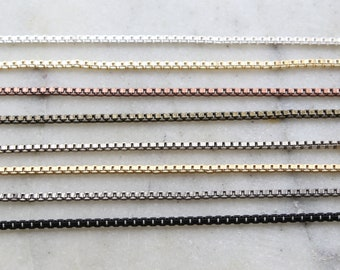 Base Metal Plated 2mm Thick Box Chain in 8 Finishes / Chain by the Foot