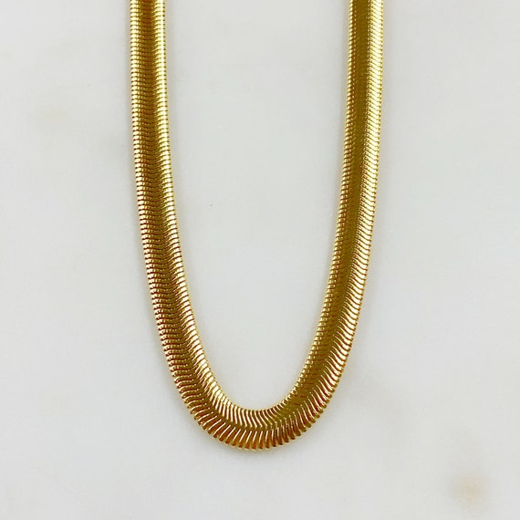 Ready to Wear 18k Gold Filled Spiral Thick Herringbone Chain 6mm in 16 Inch