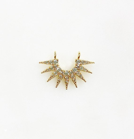 Small Unique 9 Point Ray Charm Double Loop Cubic Zirconia Gold Plated Half Sun Rays Charm Jewelry Making Charms