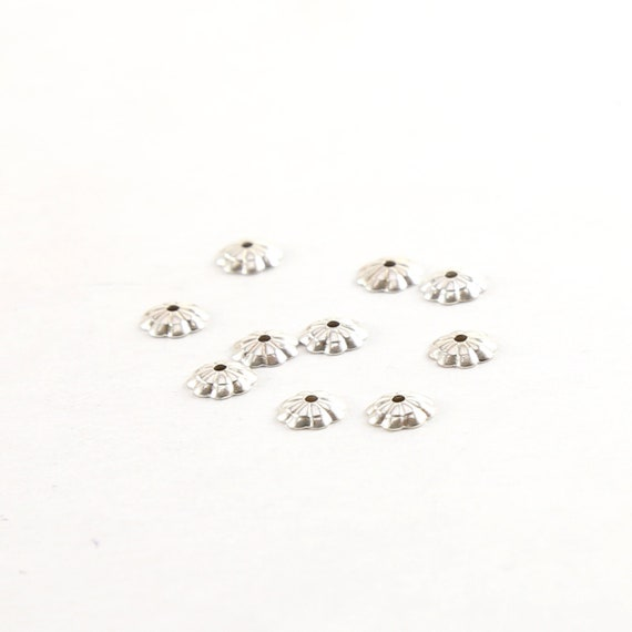 10 Pieces 5mm Sterling Silver Flower Bead Cap Jewelry Making Supplies