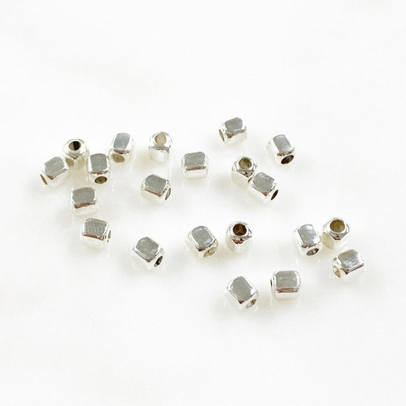 25 Piece Sterling Silver 3.5mm Cubed Beads Jewelry Making Supplies and Beads