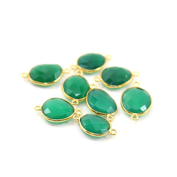 Green Onyx Natural Shaped Raw Nugget Faceted Connector Vermeil Gold Bezel Charm